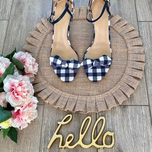 Michael Kors Bow Plaid Sandal Heels Navy